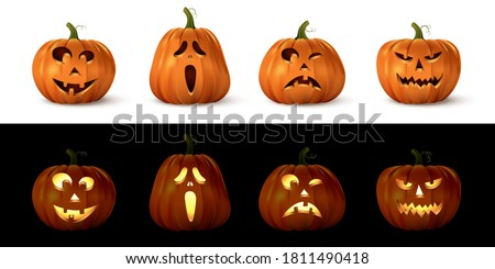 Halloween carved spooky pumpkin set. Isolated smiling, cute, funny, happy, scary, creepy faces. October holiday decoration vector illustration. Glowing with light or lantern objects.