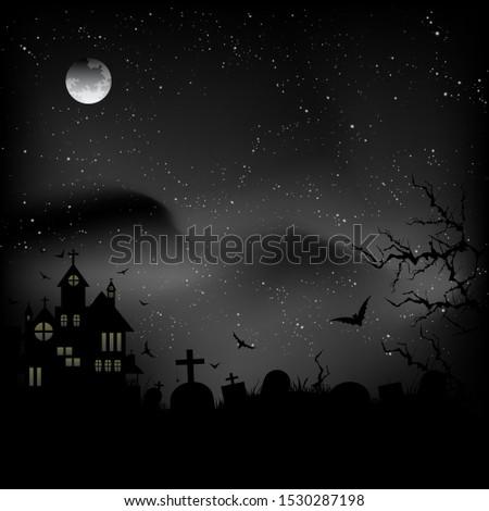 halloween castle at night sky
