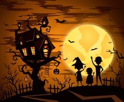 Halloween castle in mystic spooky forest. Pumpkin on halloween castle on full moon. Cartoon halloween kids silhouette.