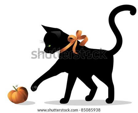 Halloween Cat A cute Halloween cat wearing an orange ribbon plays with a tiny pumpkin. EPS 8 vector with no open shapes, strokes or transparencies. Grouped for easy editing.