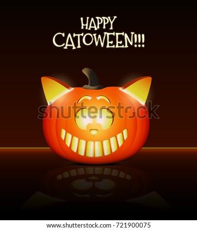 Halloween cat vector illustration. Cool cat head made from pumpkin.