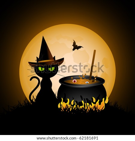 Halloween cat wearing witches hat and bubbling cauldron