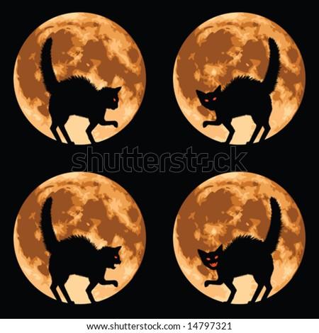 halloween cat with full moon