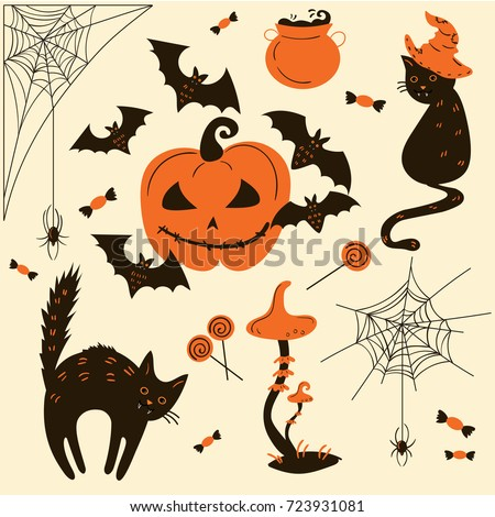 halloween cats and pumpkins