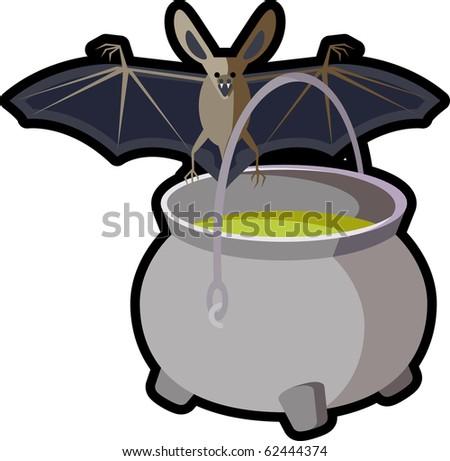 halloween cauldron bat