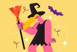 Halloween celebration, holiday and festival concept. Portrait pretty smiling young woman cartoon character wizard holding broom during event over yellow background vector illustration