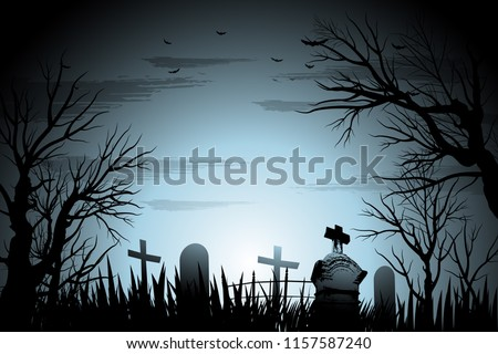 Halloween cemetery background illustration #1157587240
