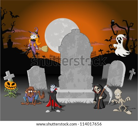 Halloween cemetery background with tombs and funny cartoon classic monster characters