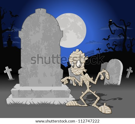 Halloween cemetery background with tombs and funny cartoon mummy - stock vector