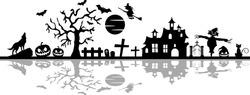 Halloween Cemetery Skyline Vector Silhouette