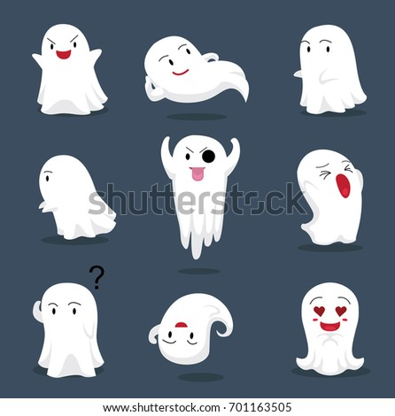 Halloween Character Big Head Poses Little Ghost