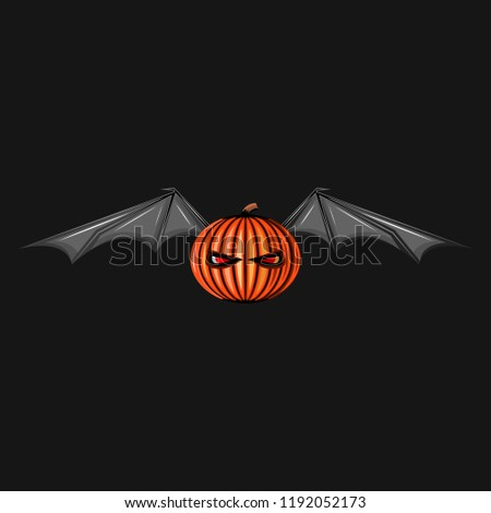 Halloween character pumpkin with bat wings monster. Ghost spooky jack symbol. Scary All saints eve night background, illustration.