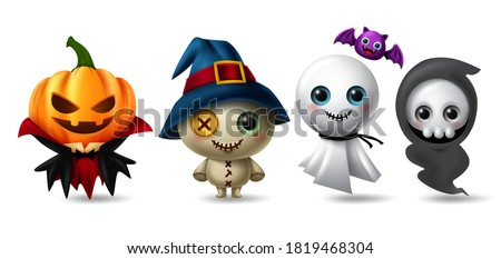 Halloween character vector set. Halloween characters like pumpkin vampire, teddy bear, ghost and grim reaper isolated in white background for horror 3d collection design. Vector illustration