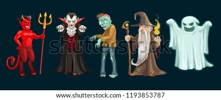 Halloween characters of ghost, vampire and zombie, devil, dracula and wizard. October holiday horror night scary monsters and evil beasts, trick or treat themes design