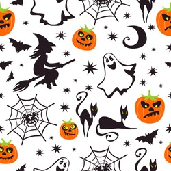 Halloween characters on white background. Seamless pattern. Vector illustration.  Design element for banner, wallpaper, wrapping paper, fabric.