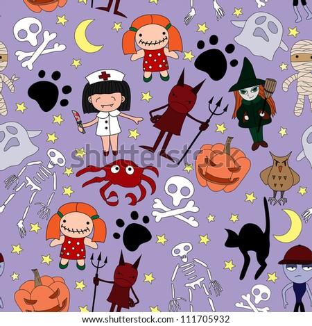 Halloween characters seamless pattern. Vector illustration