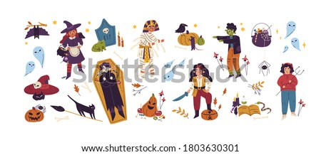 Halloween childish bundle with jack o lantern, coffin, witch, pirate, vampire and zombie. Cute creepy collection with childlike Helloween elements. Flat vector cartoon illustration isolated on white