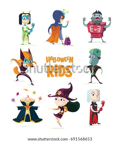 Halloween.Children in Halloween costume. Halloween kids.Set of superhero kids. Children in bright costumes of Monsters:Frankenstein,Witch,Zombie, Vampire,Werewolf.Vivid characters for advertising.