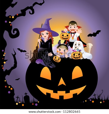 Halloween children wearing costume on the huge jack-o-lantern - stock vector