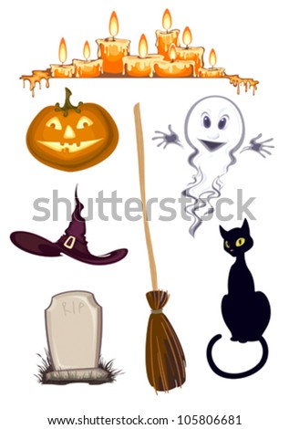 halloween clipart , set of icons