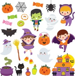 Halloween clipart set with cute cartoon characters of children, pumpkins and other holiday symbols