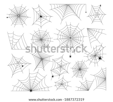 Halloween Cobweb and spiders. Spooky art element set. Webs of various shape and form hanging with crawling scary arachnid insects for decoration, vector illustrations isolated on white background ストックフォト ©