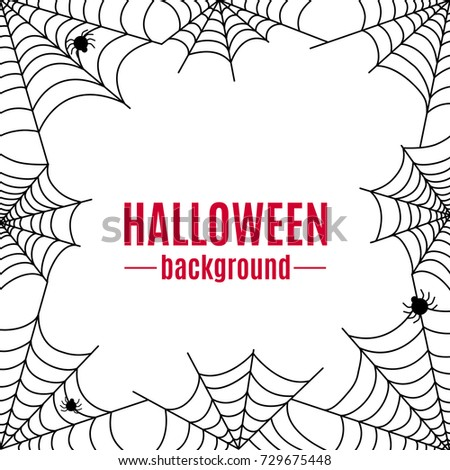 Halloween cobweb black vector frame on white background with spider. Scary illustration for use in design.