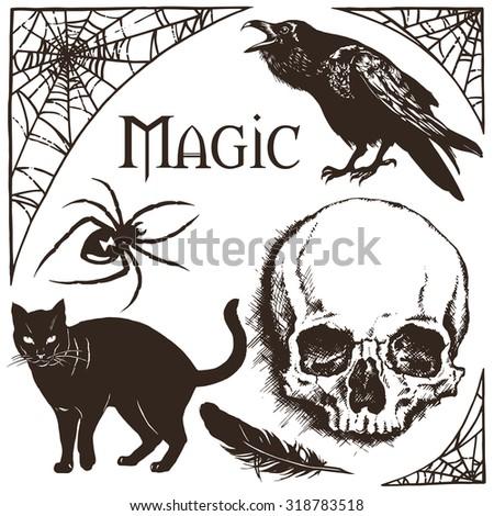 halloween cobweb frame  black