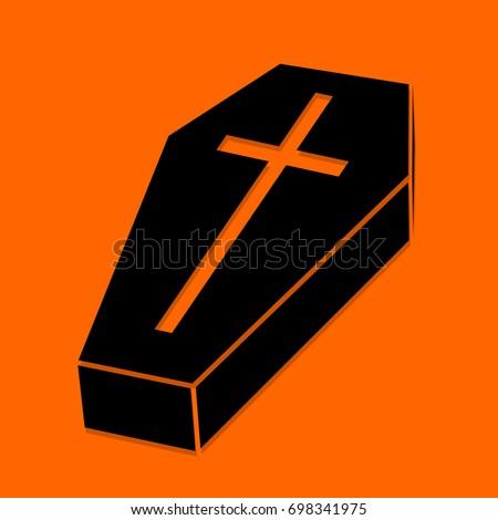 halloween coffin black icon on