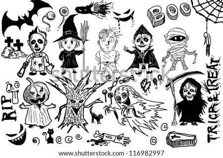 Halloween collection drawing line EPS10 Vector