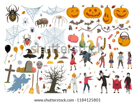 Halloween collection, illustration, doodle, sketch, drawing, vector #1184125801
