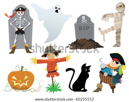 Halloween collection of design elements, vector illustration. - stock vector