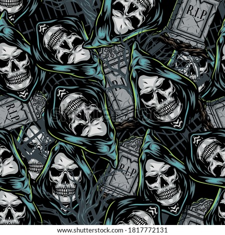 Halloween colorful seamless pattern with tombstones and grim reaper heads in vintage style vector illustration