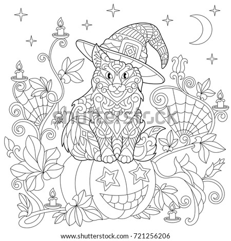 halloween coloring page cat in