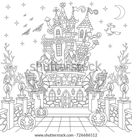 halloween coloring page spooky