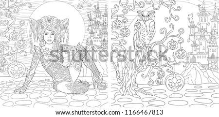 Owl Coloring Book For Adult Download Free Vector Art Stock