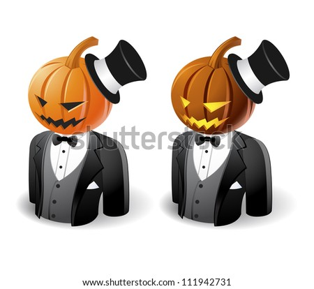 Halloween concept : pumpkin head icons - stock vector