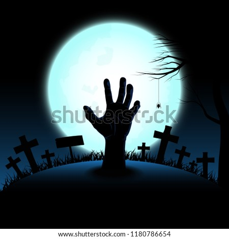 Halloween concept with zombie hand rising out from the ground in full moon night background, Vector illustration #1180786654