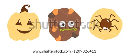 halloween cookies set vector