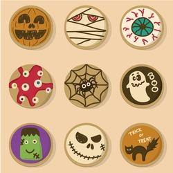Halloween cookies vector. Set of funny cartoon vector illustration halloween cookies. Cute halloween cookies.