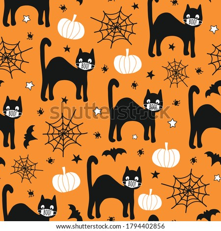 Halloween 2020 Coronavirus pattern black cat wearing face mask, bat, spiders seamless vector repeating background. Cute hand drawn Corona kids illustration for fabric, face mask, cards, party invite