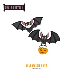 Halloween covid bats. Funny character in a face mask. Party decoration. Coronavirus holiday celebration. Editable vector illustration in flat cartoon style isolated on white background