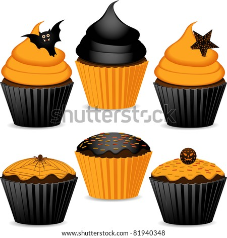Halloween cupcakes in orange and black with cobweb, spider, star and bats