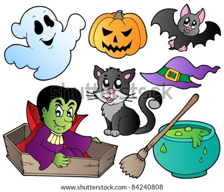 Halloween cute cartoons set 1 - vector illustration.