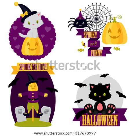 Halloween cute clip-art set. White and black kitten, spider, scarecrow, pumpkin, bat #317678999