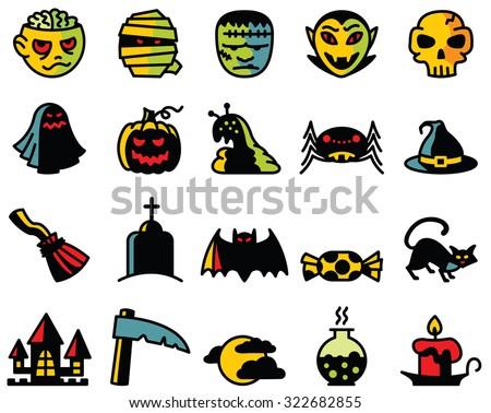halloween cute icons set