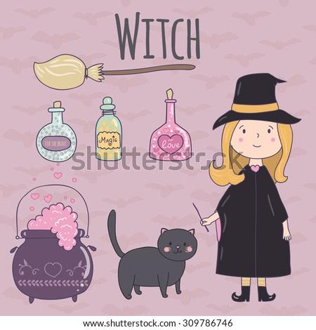 halloween cute illustration of
