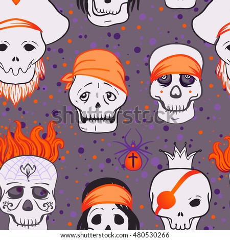 Halloween cute seamless pattern. Titled vector illustration. Fabrics, textile, wrapping paper, wallpaper. Kids style ornament.