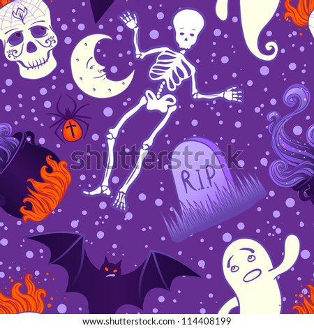 Halloween cute seamless pattern. Vector illustration.