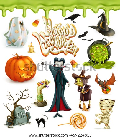 Halloween 3d vector icons. Pumpkin, ghost, spider, witch, vampire, candy corn. Set of cartoon characters and objects